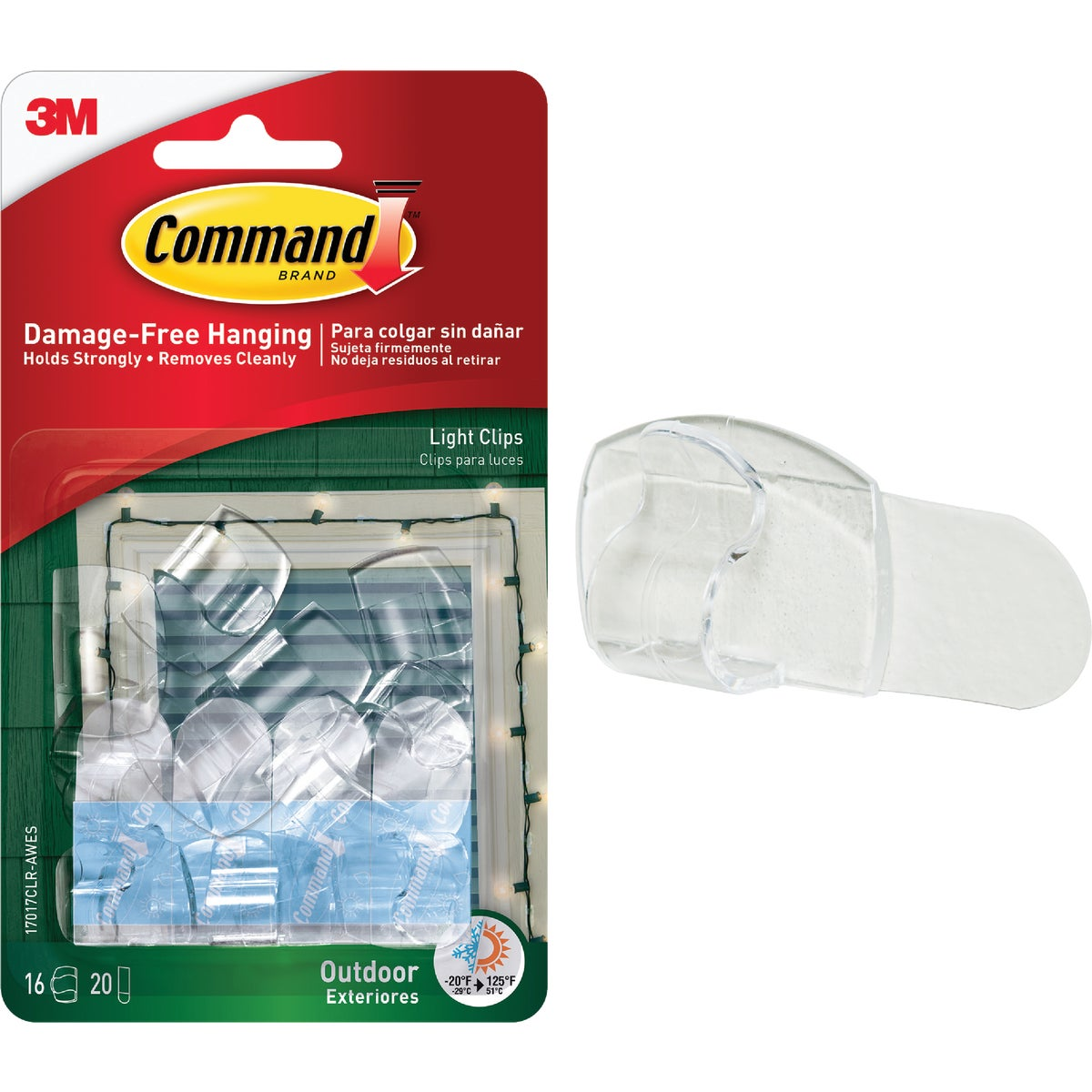 COMMAND CLRAW LIGHT CLIP - 17017CLR-AW-16PK by 3m Co