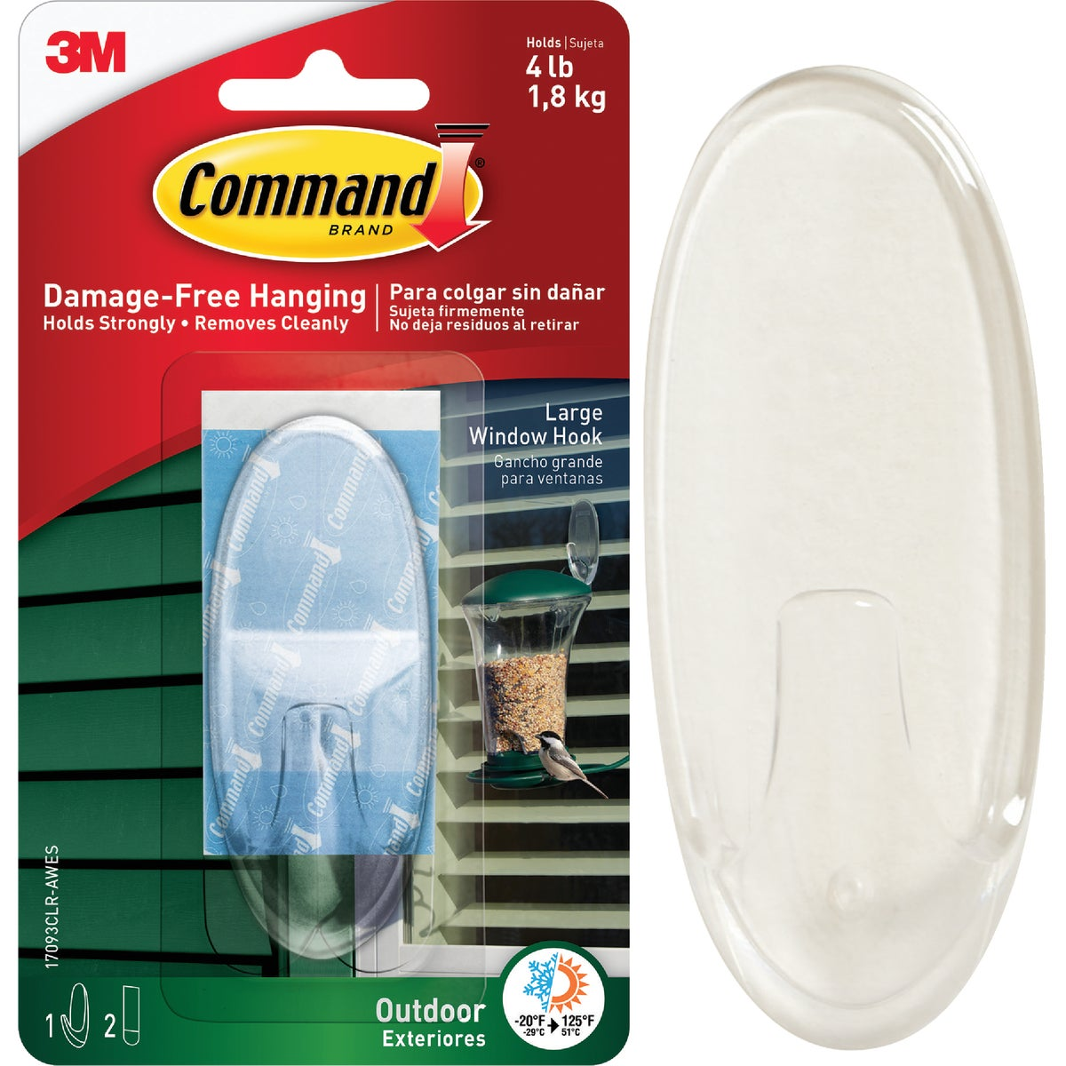 COMMAND CLR AW HOOK LG - 17093CLR-AW by 3m Co
