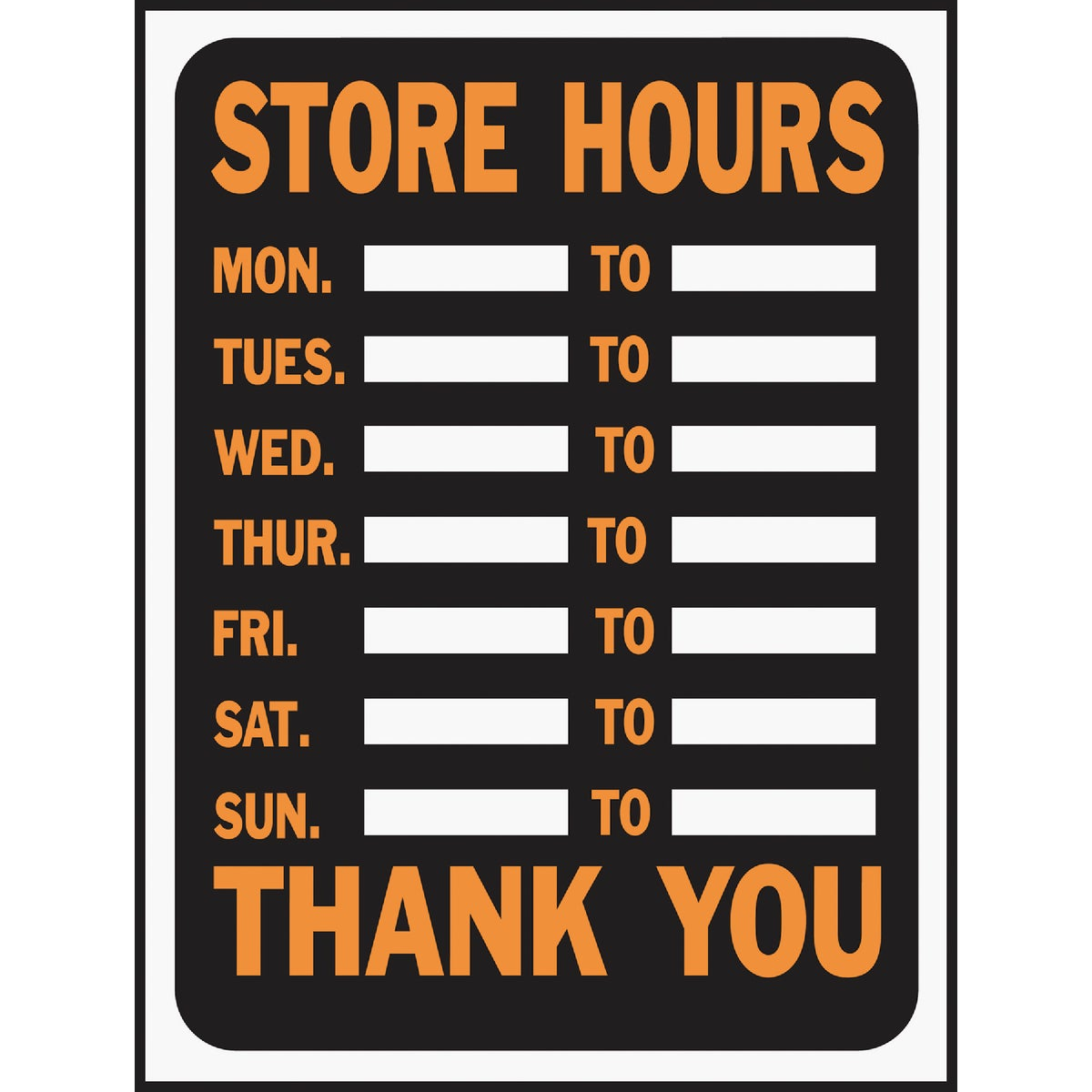 9X12 STORE HOURS SIGN - 3030 by Hy Ko Prods Co