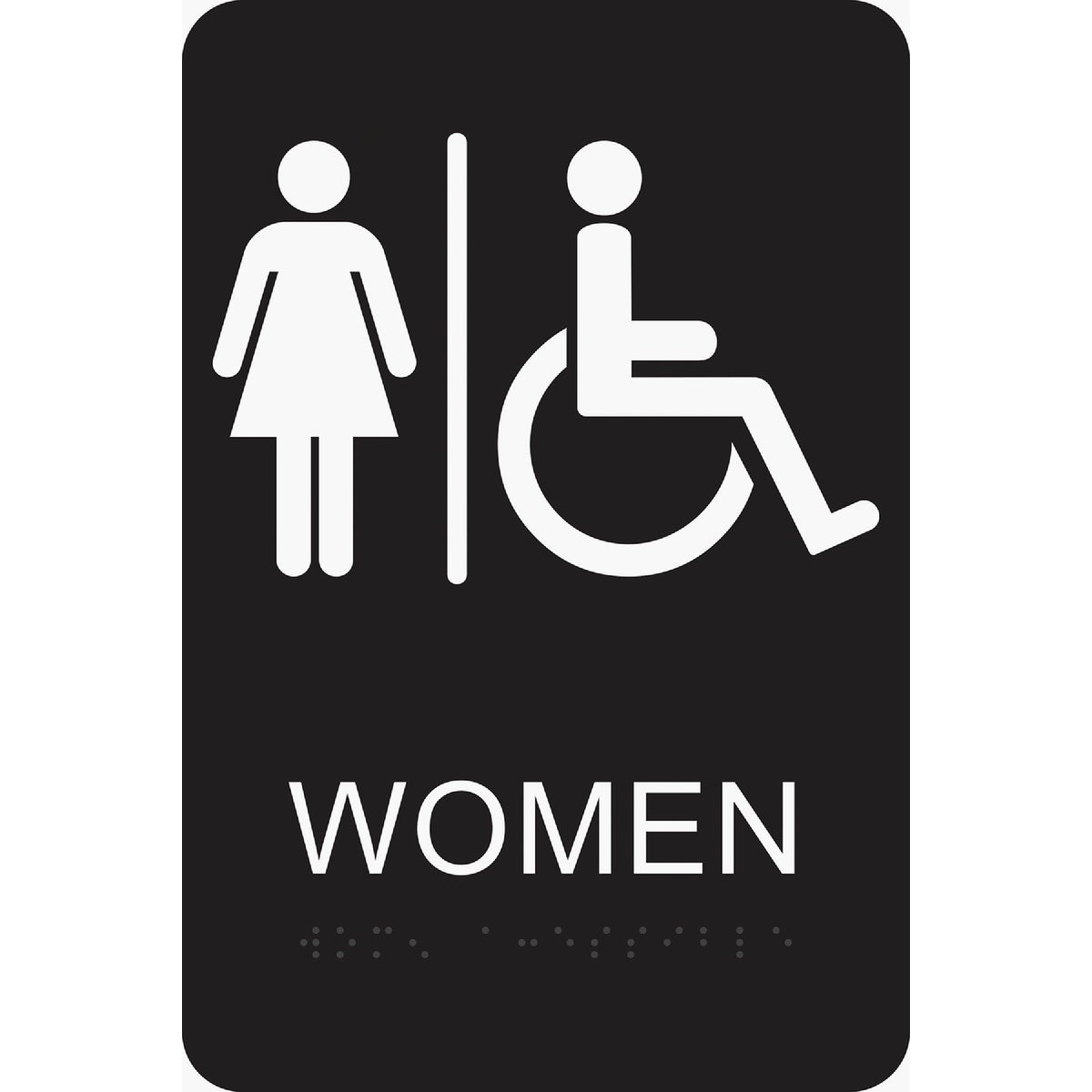 6X9 BRAILLE WMN/HND SIGN