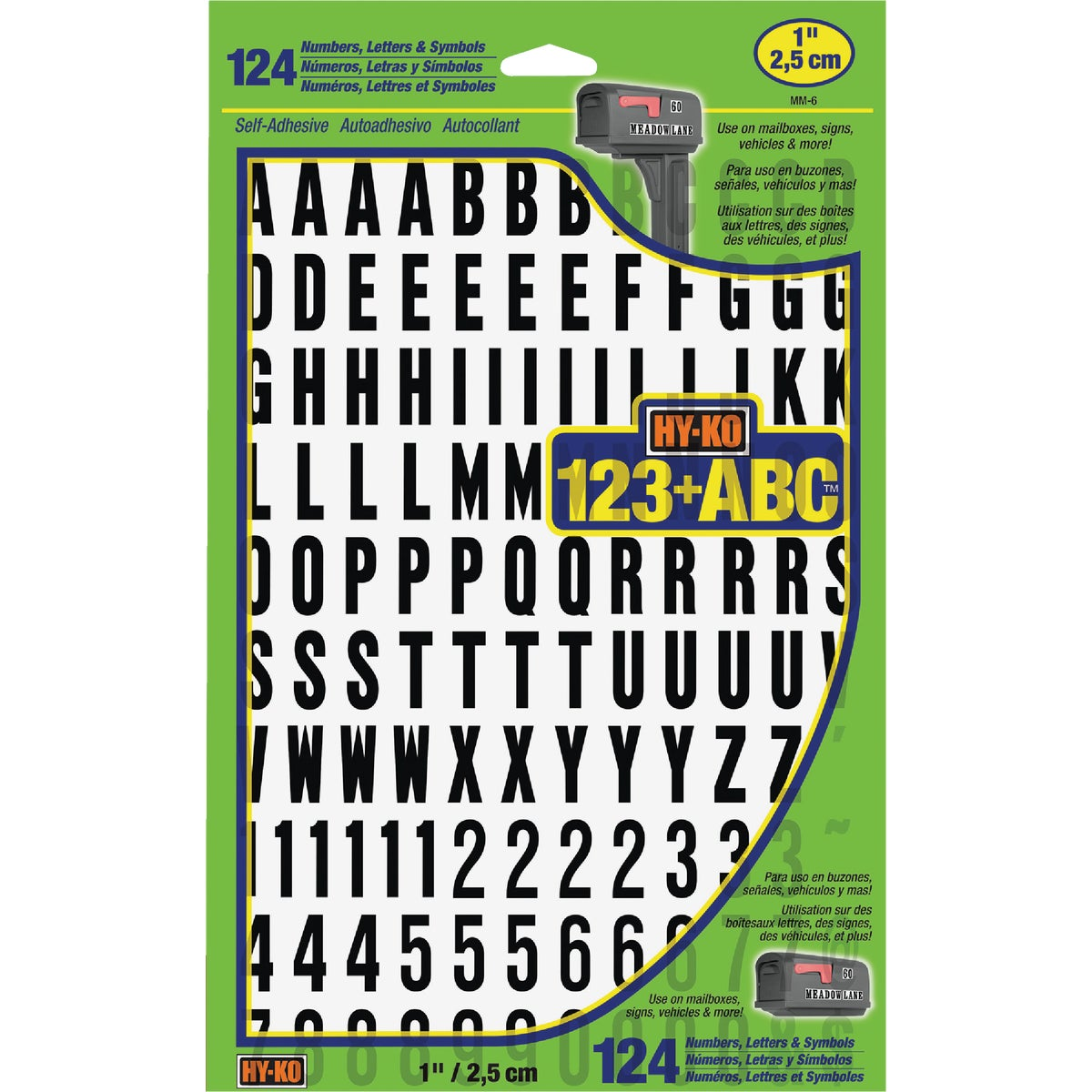 "1"" NUMBERS & LETTERS - MM-6 by Hy Ko Prods Co"