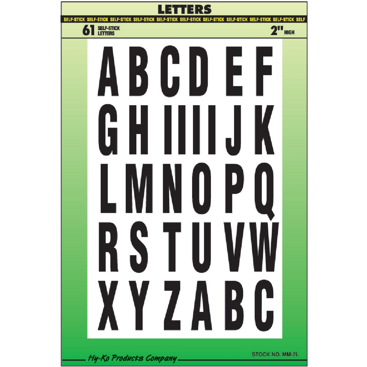 "2"" LETTERS - MM-7L by Hy Ko Prods Co"