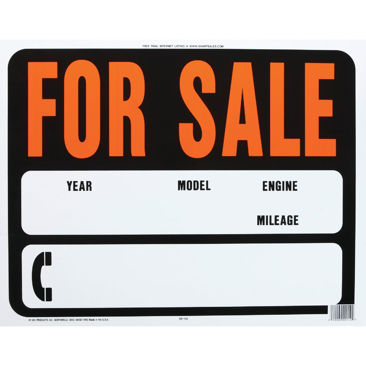 15X19 AUTO FOR SALE SIGN - SP-112 by Hy Ko Prods Co