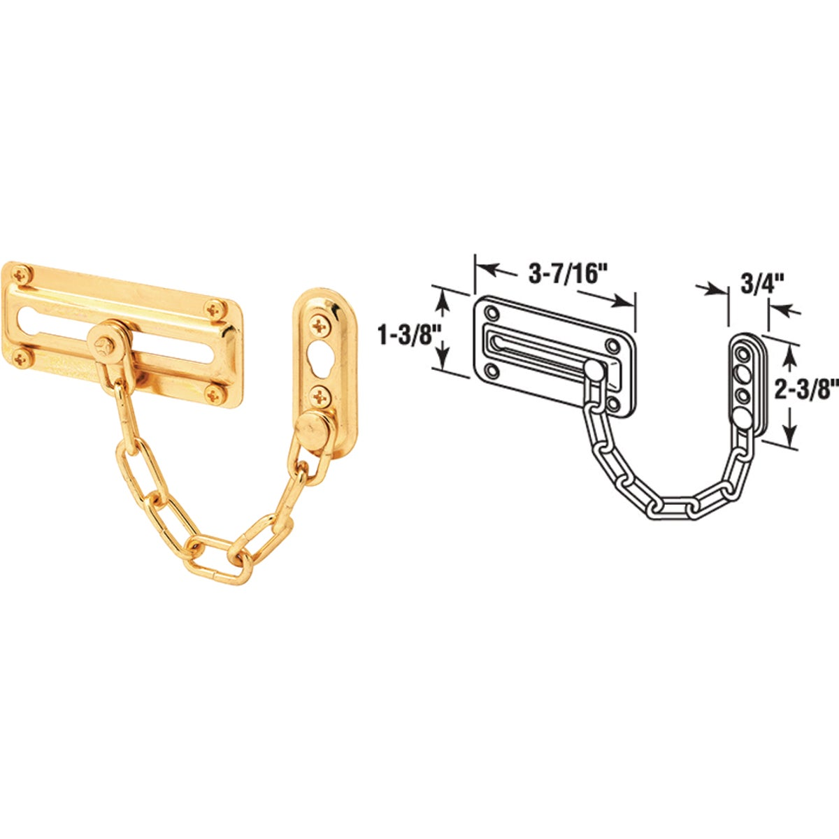 BRS CHAIN DOOR GUARD - U 9905 by Prime Line Products
