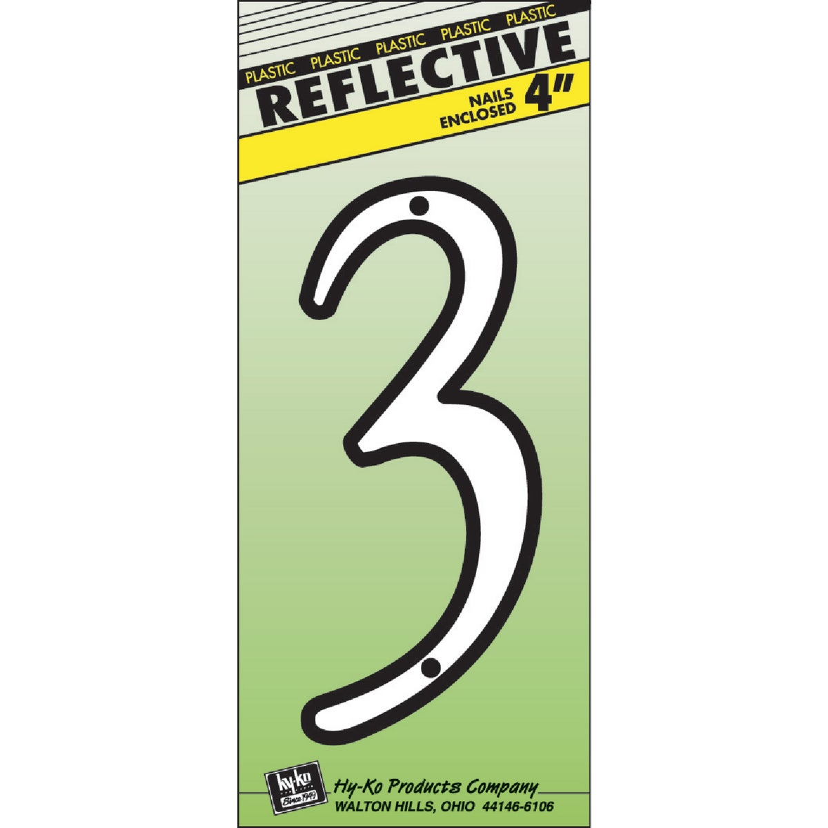 """4"""" REFLECT NUMBER 3 - 30603 by Hy Ko Prods Co"""
