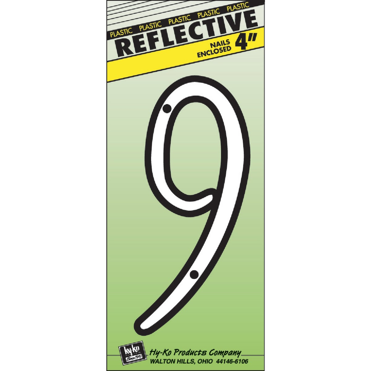"""4"""" REFLECT NUMBER 9 - 30609 by Hy Ko Prods Co"""
