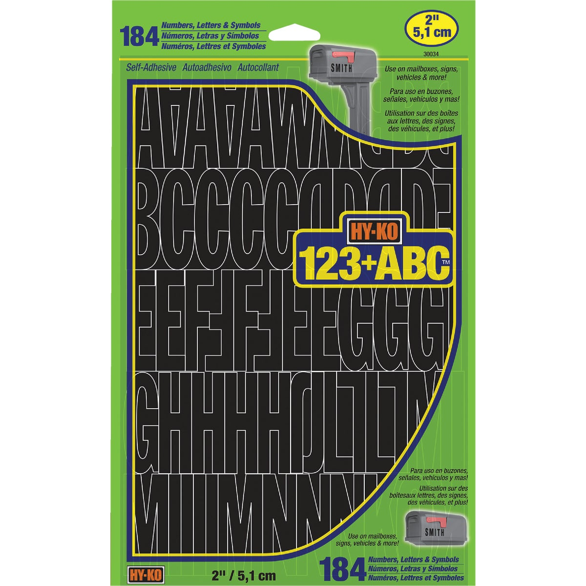 "2"" BLK LTR/NUMBER SET"