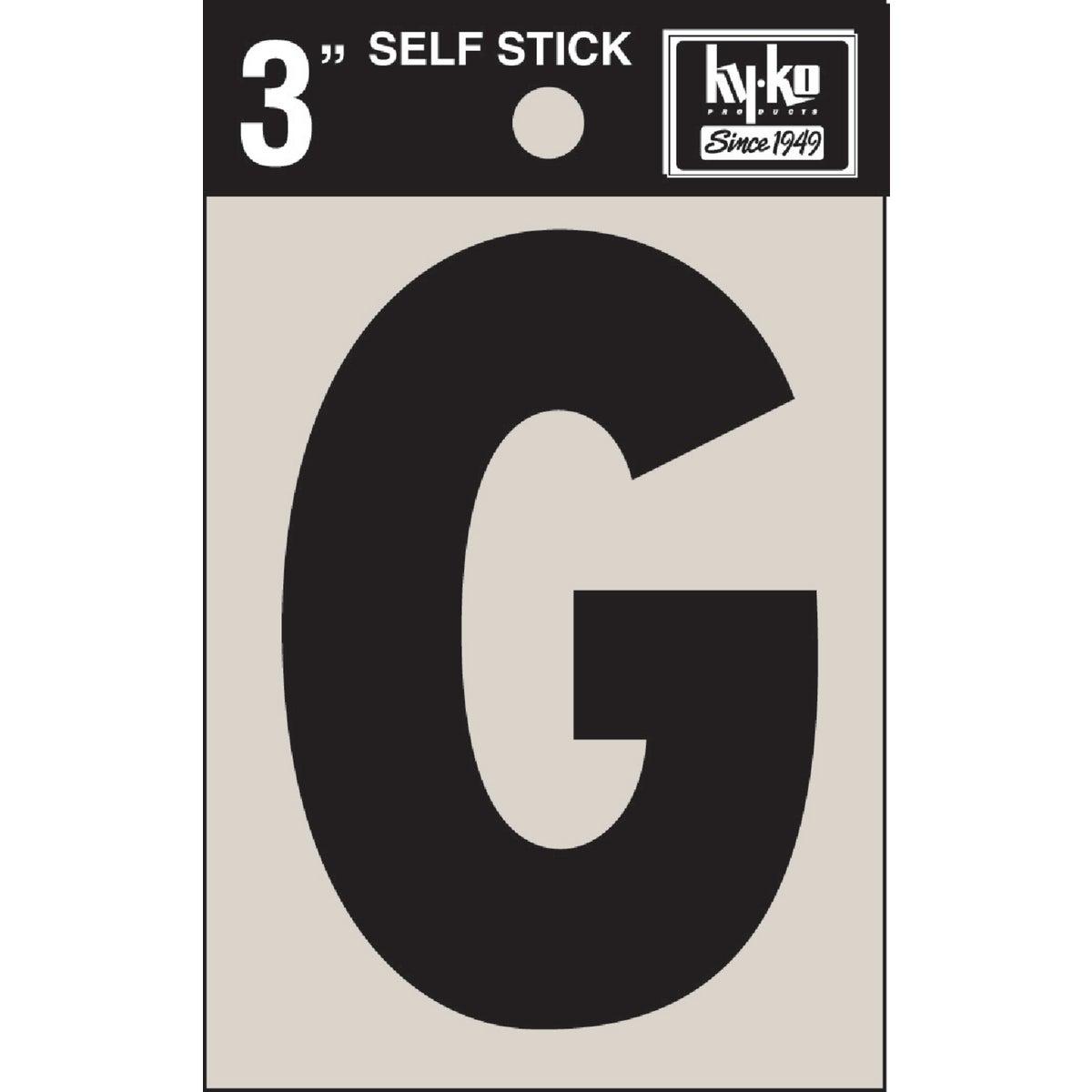 "3"" BLK VINYL LETTER G - 30417 by Hy Ko Prods Co"