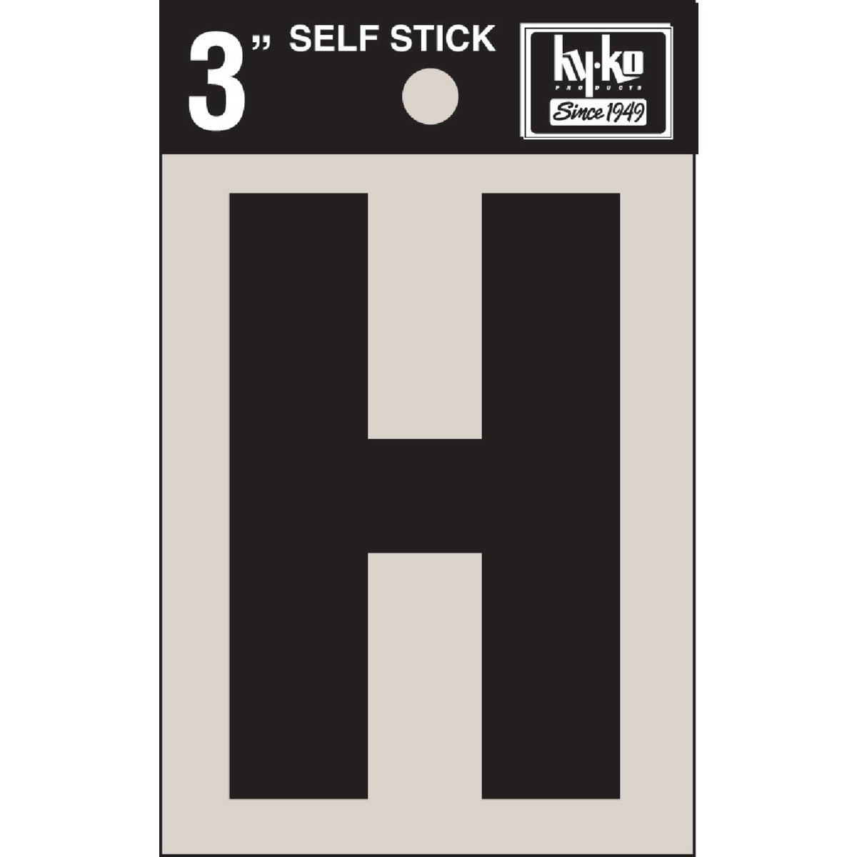 "3"" BLK VINYL LETTER H - 30418 by Hy Ko Prods Co"