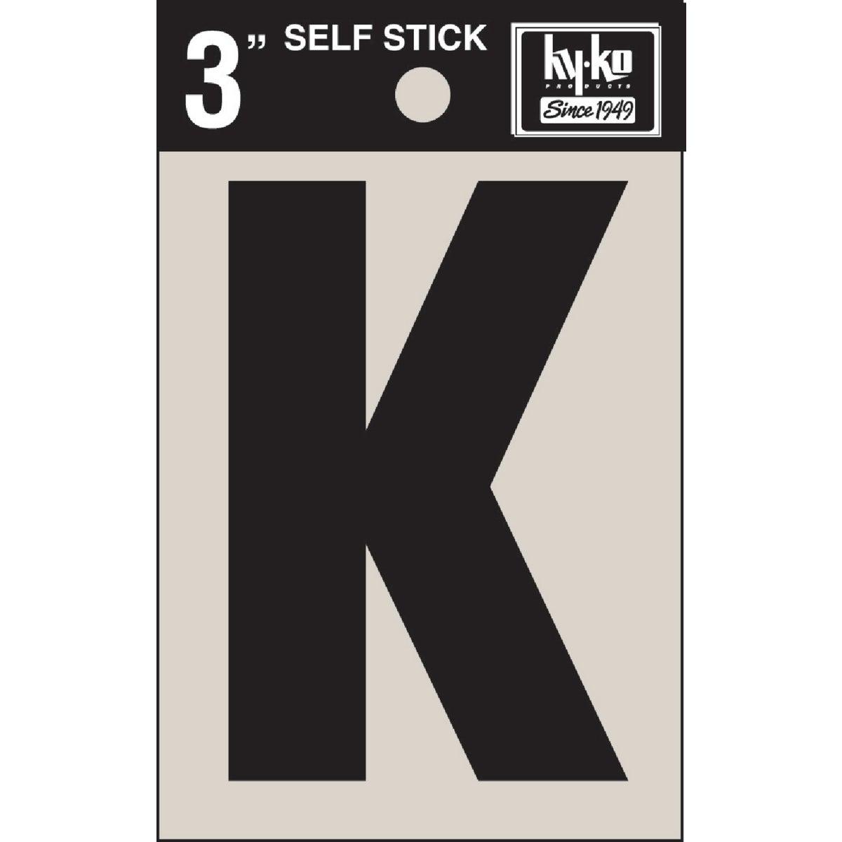 """3"""" BLK VINYL LETTER K - 30421 by Hy Ko Prods Co"""