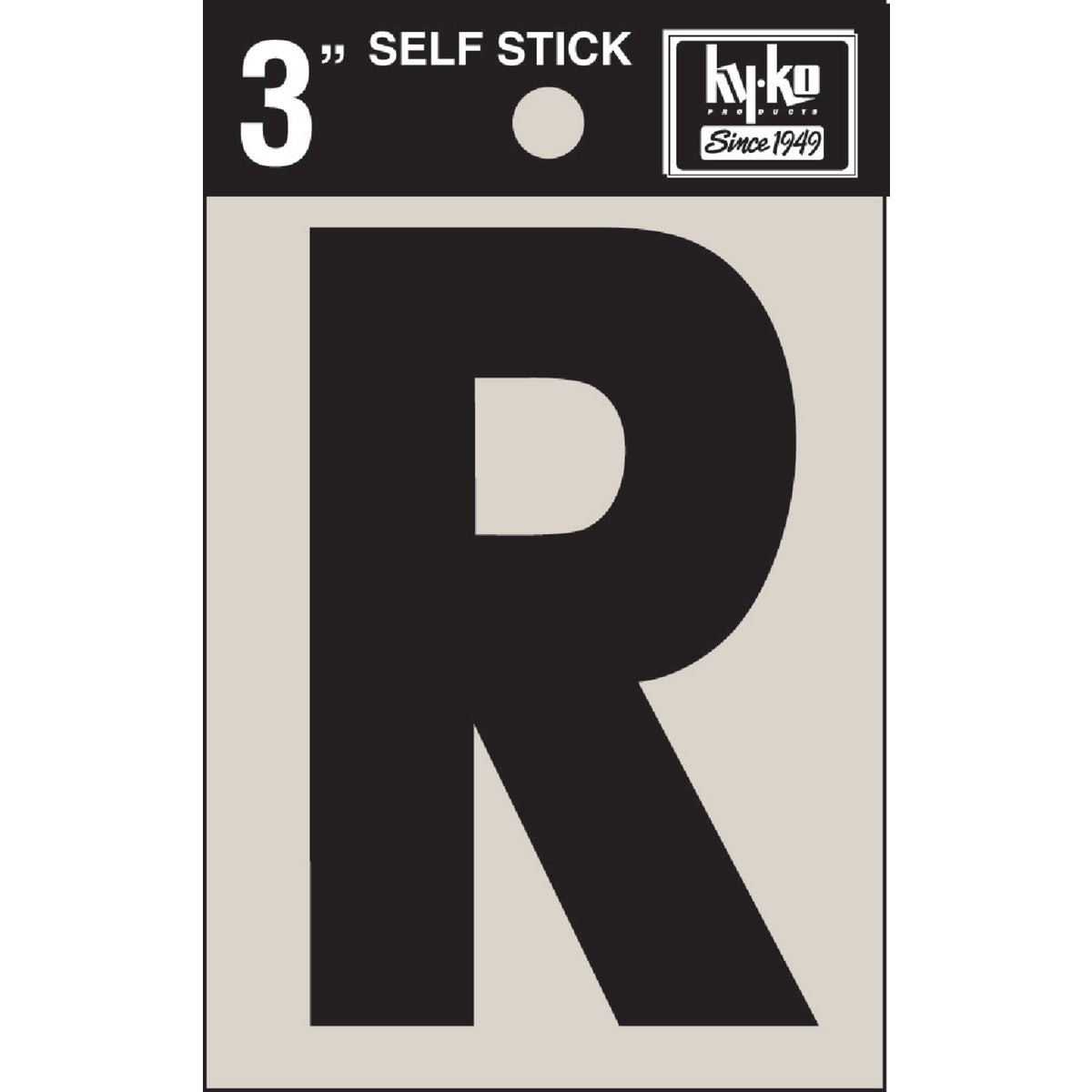 "3"" BLK VINYL LETTER R - 30428 by Hy Ko Prods Co"