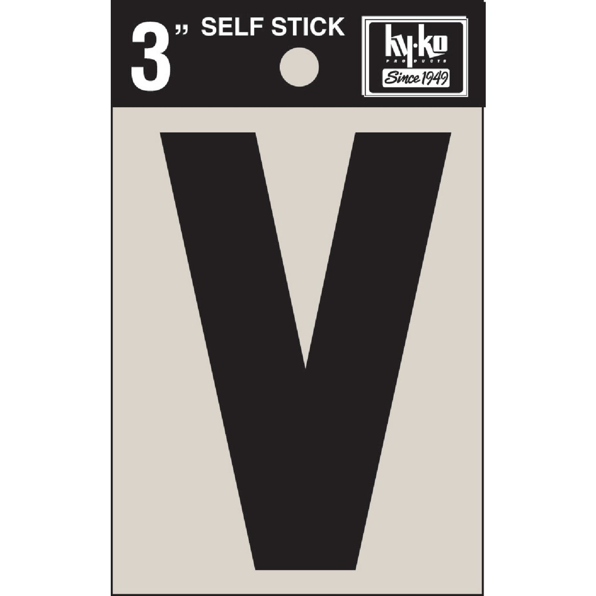 "3"" BLK VINYL LETTER V - 30432 by Hy Ko Prods Co"