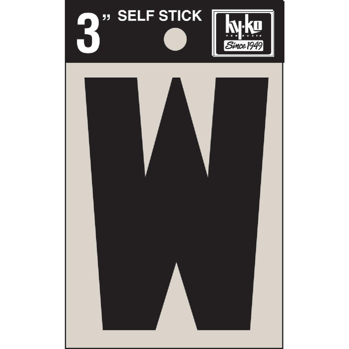 "3"" BLK VINYL LETTER W - 30433 by Hy Ko Prods Co"