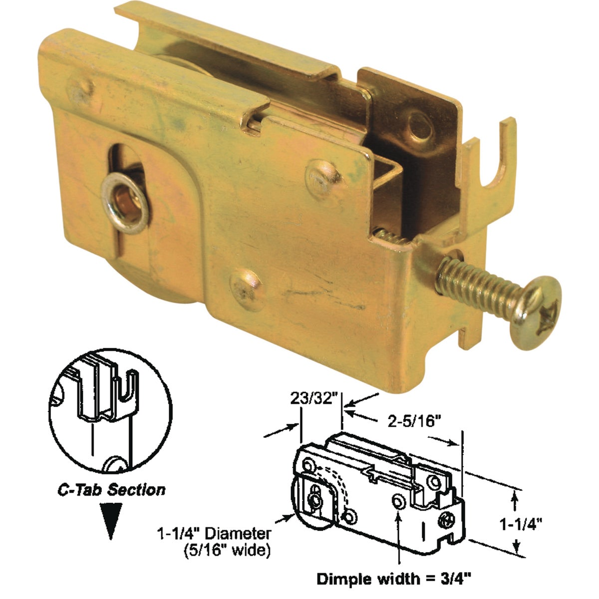 SLIDING GLS DOOR ROLLER - 131846 by Prime Line Products