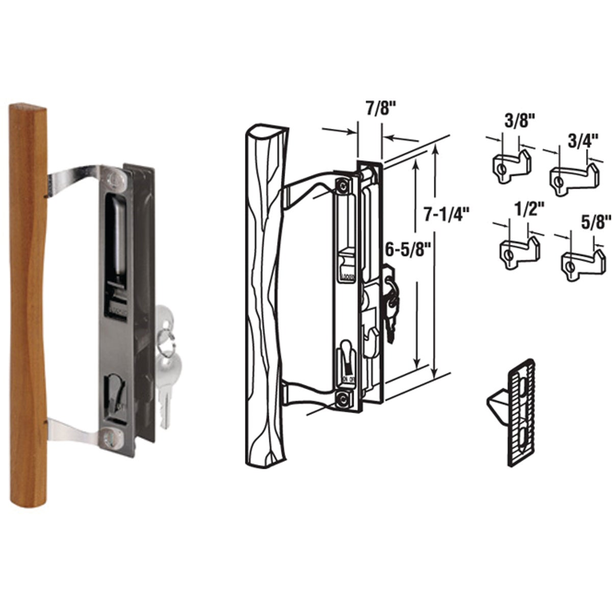 SLIDING DOOR HANDLESET - 141638 by Prime Line Products