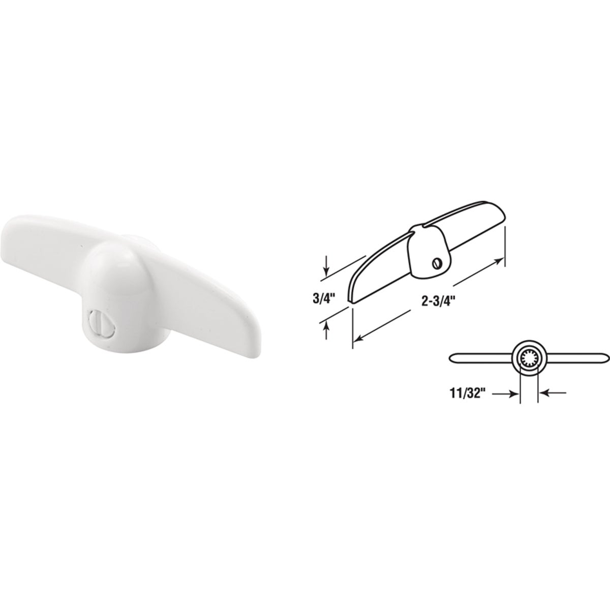 "3/8"" WHT CSMT T-HANDLE - 172006 by Prime Line Products"