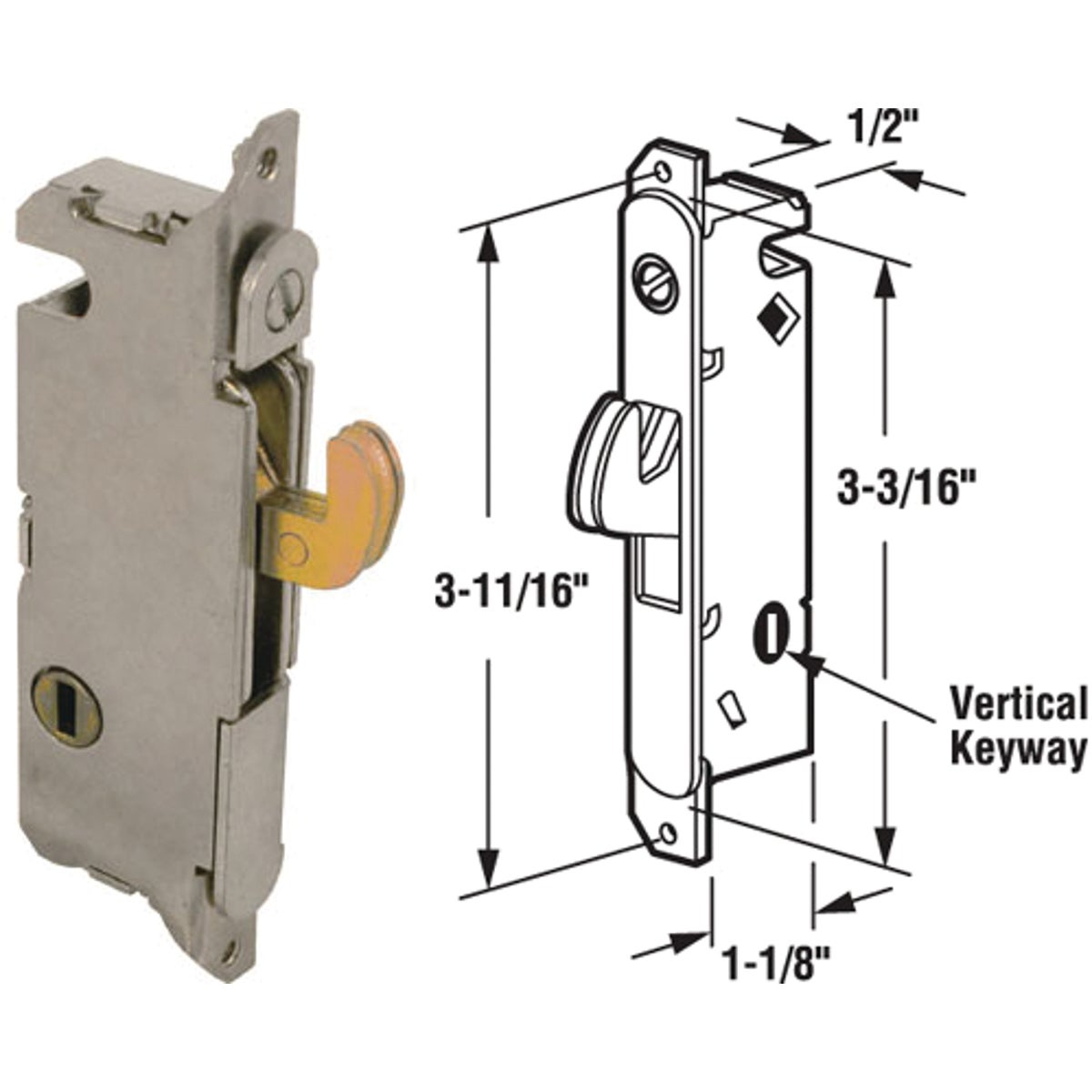 SLIDNG DOOR MORTISE LOCK - 15410 by Prime Line Products