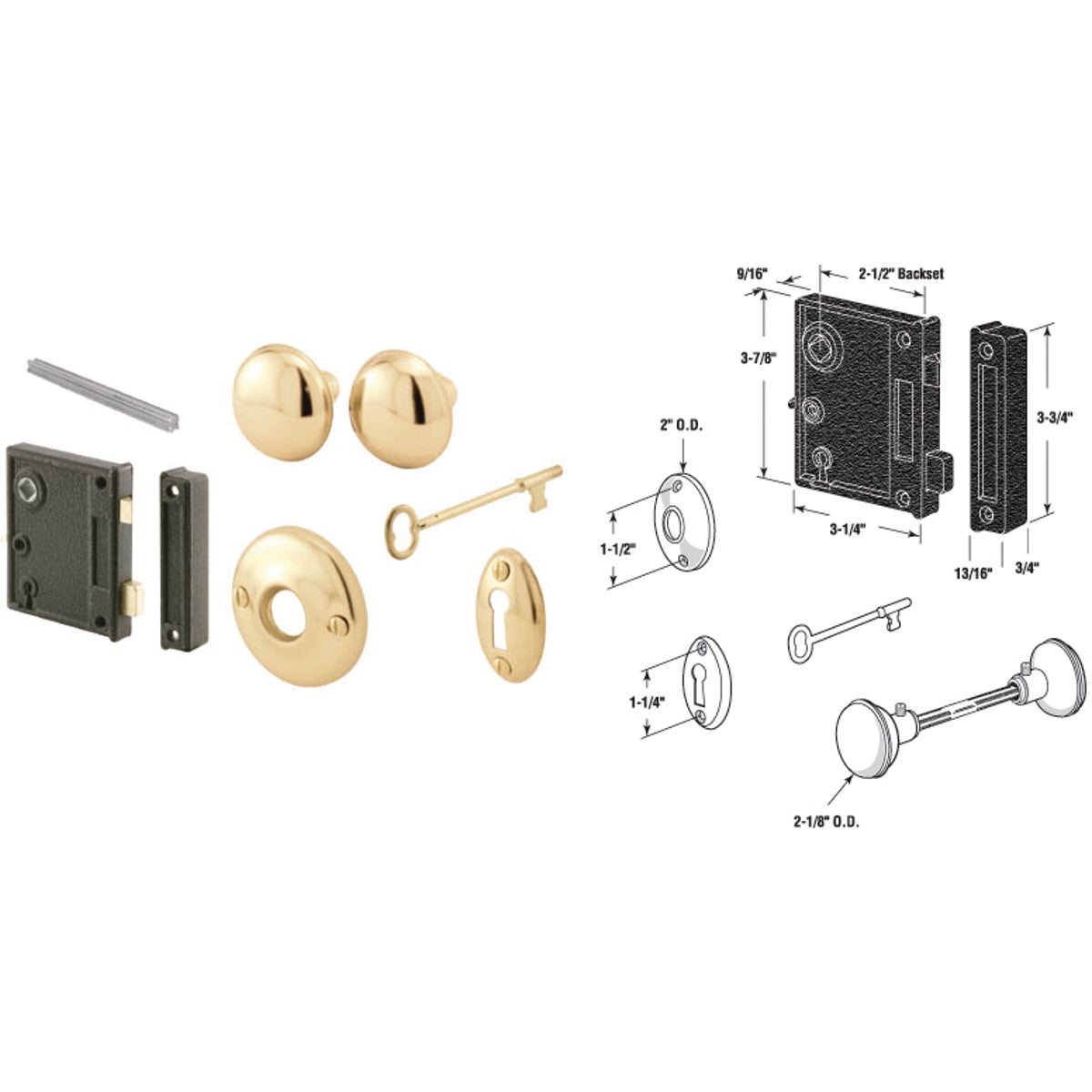Key Rim Lock Part Set