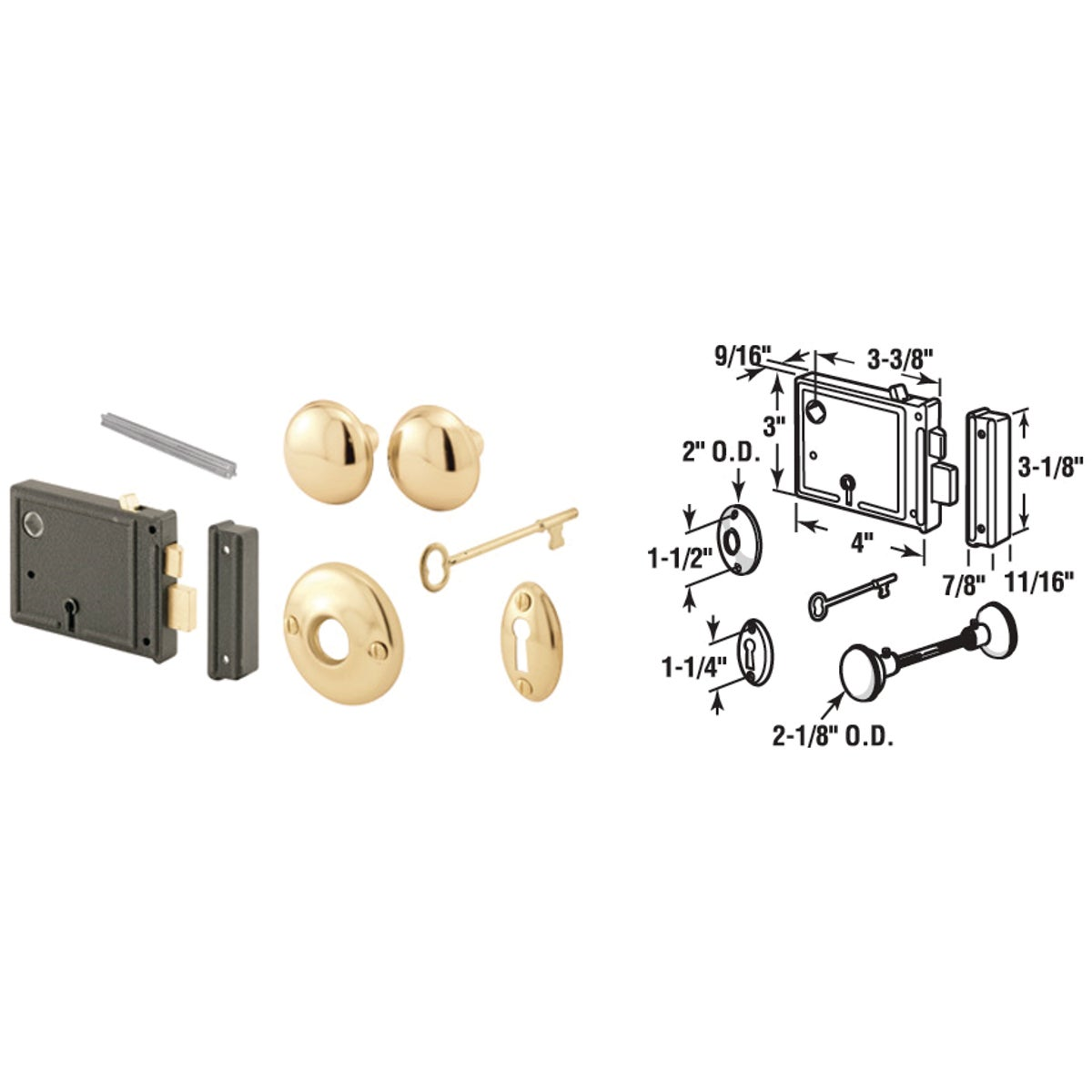 HORZ BIT KEY TRIM LOCK - E 2478 by Prime Line Products