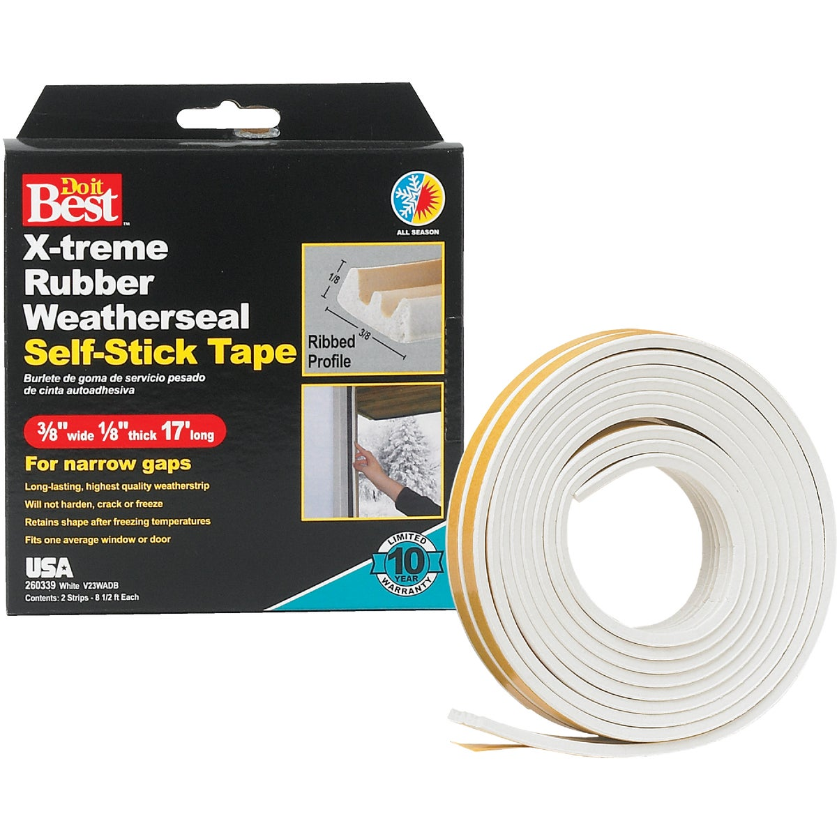 "3/8X1/8""X17' WHT TAPE - V23WADB by Thermwell Prods Co"