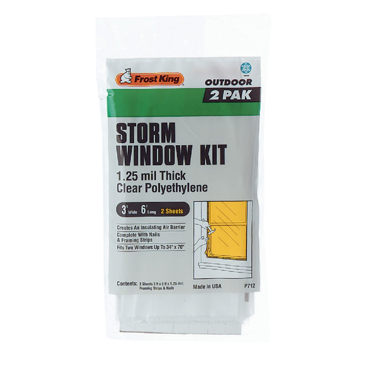 Thermwell Prods. Co. 2PK 3X6 STORM WINDOW KIT P712H