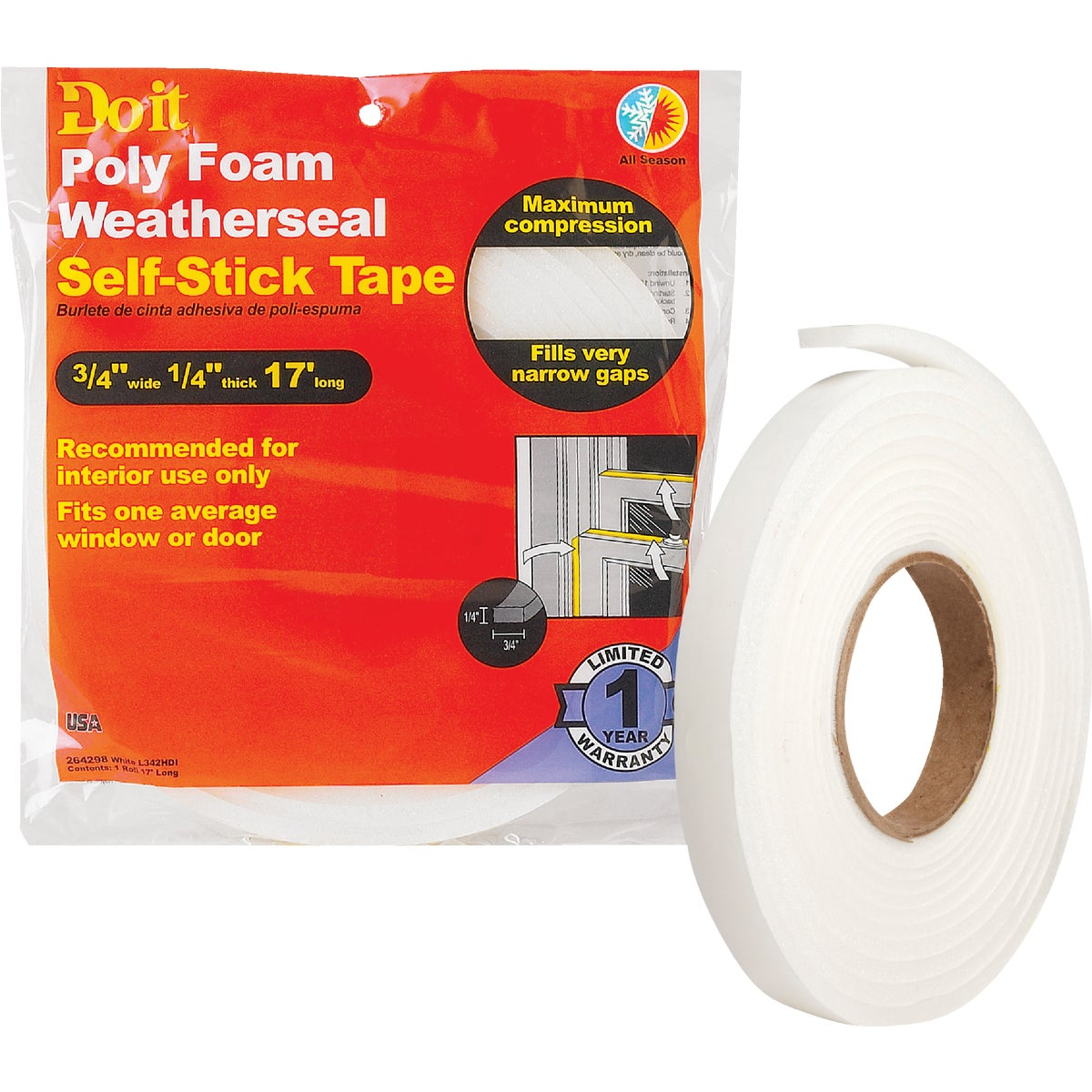 Thermwell Prods. Co. 3/4X1/4X17 WEATHER STRIP L342HDI
