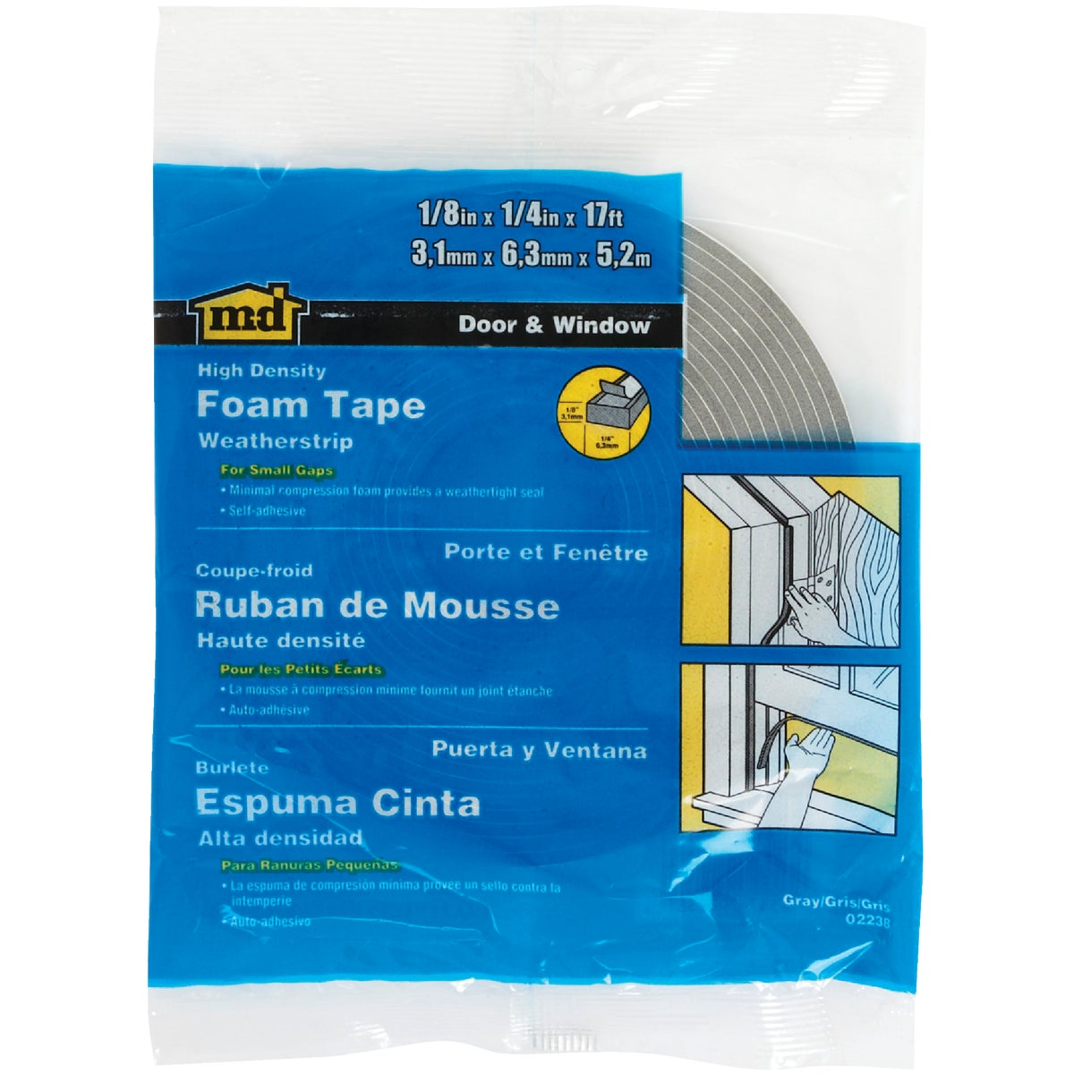 "1/8X1/4""X17' FOAM TAPE - 02238 by M D Building Prod"
