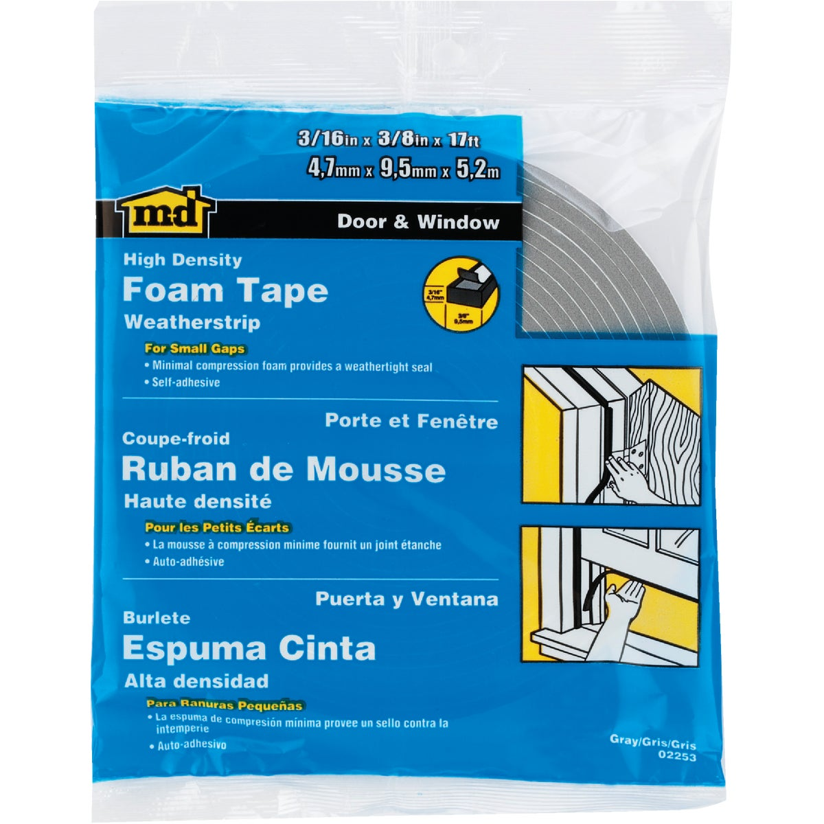 "3/16X3/8""X17' FOAM TAPE - 02253 by M D Building Prod"