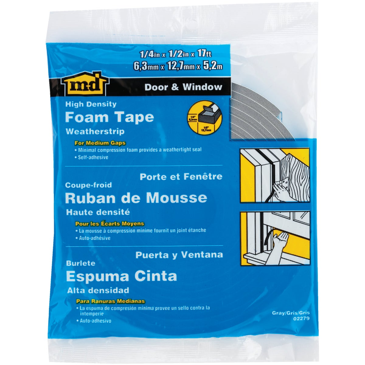 "1/4X1/2""X17' FOAM TAPE - 02279 by M D Building Prod"