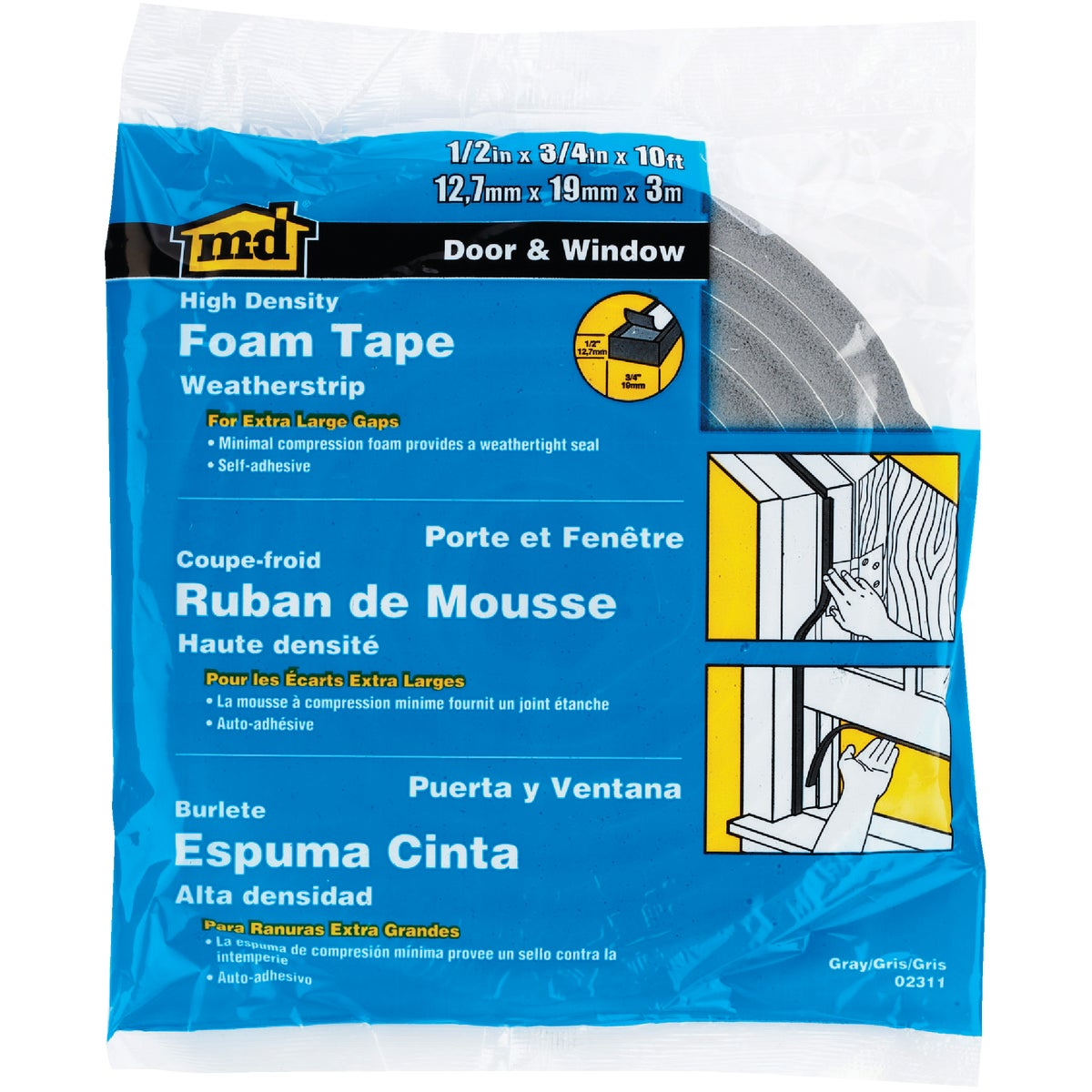 "1/2X3/4""X10' FOAM TAPE - 02311 by M D Building Prod"
