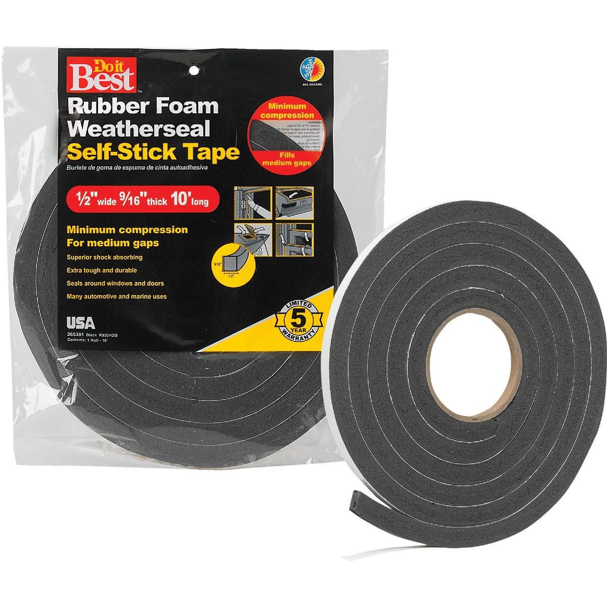 "1/2X9/16""X10' BLK TAPE - R930HDB by Thermwell Prods Co"