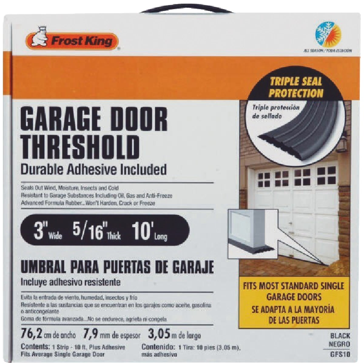 Thermwell Prods. Co. 10' GARAGE DR FLOOR SEAL GFS10