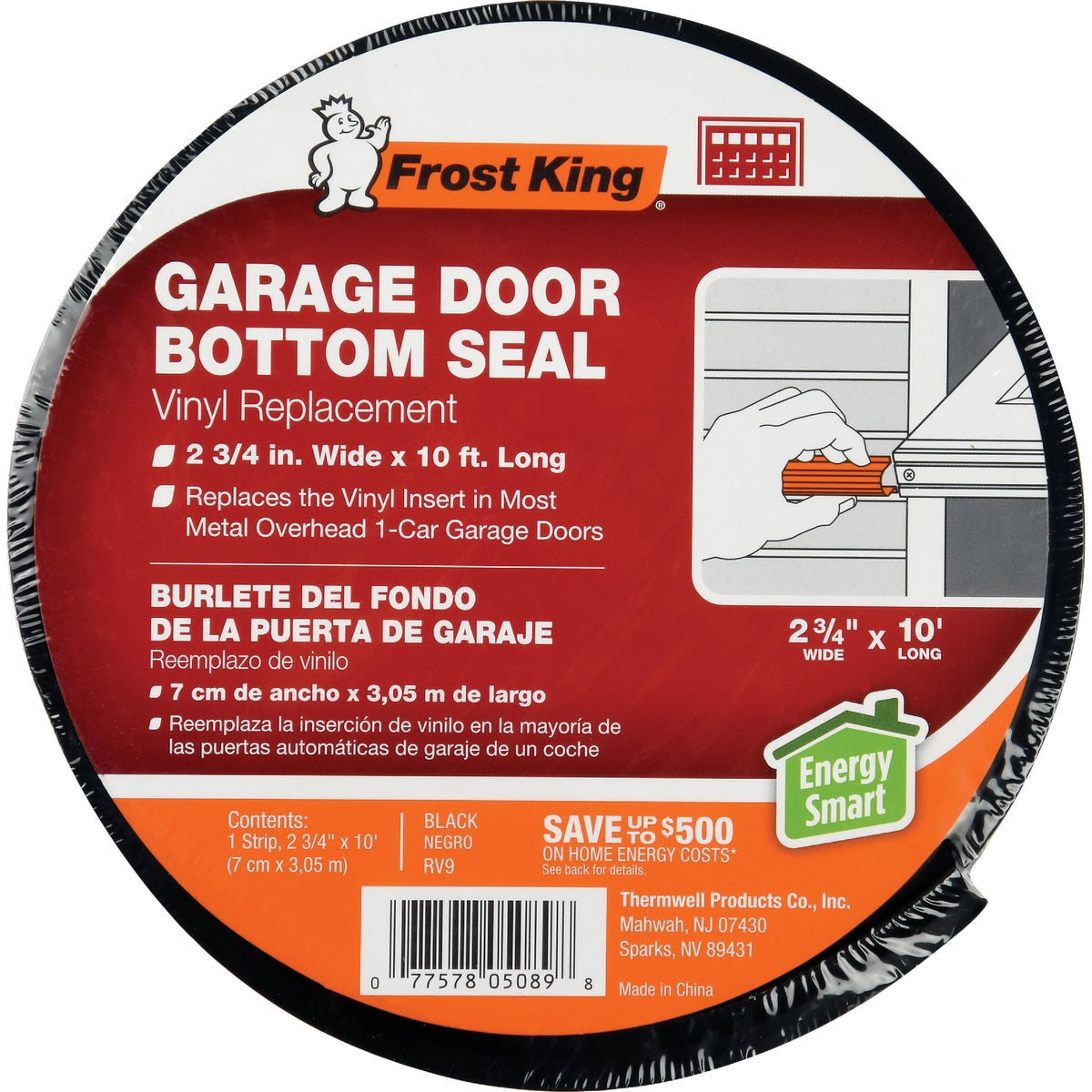 "2-3/4""X10'GARAGE DR SEAL - RV9 by Thermwell Prods Co"