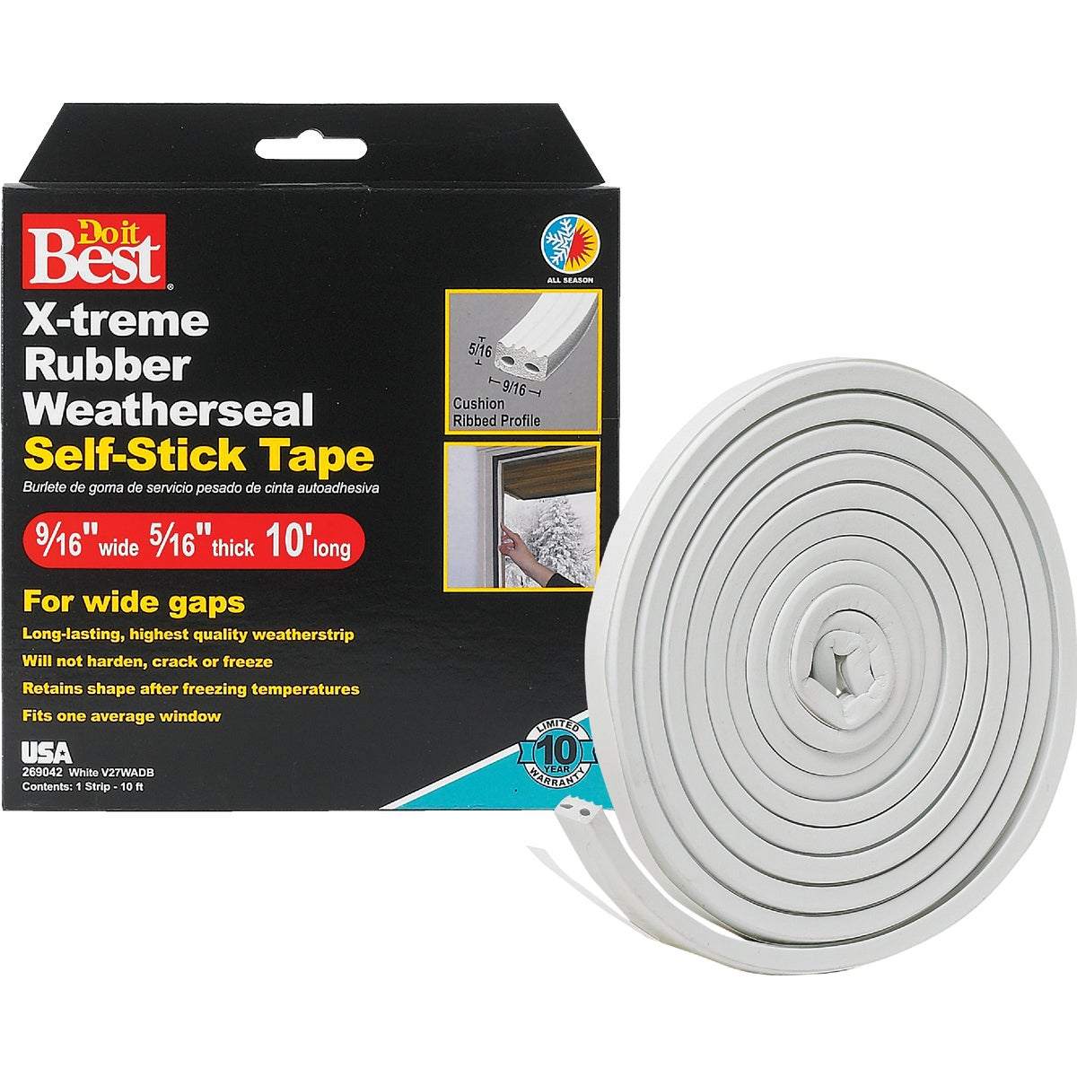 "9/16X5/16""X10' WHT TAPE - V27WADB by Thermwell Prods Co"