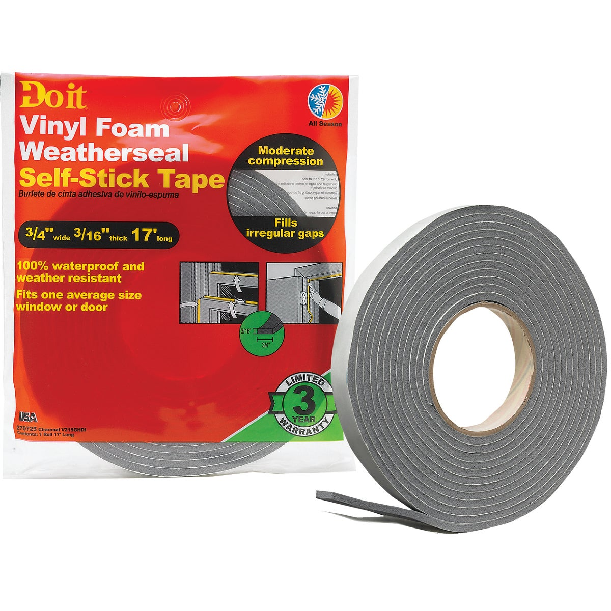3/4X3/16X17 VNL/FOM TAPE - V215GHDI by Thermwell Prods Co