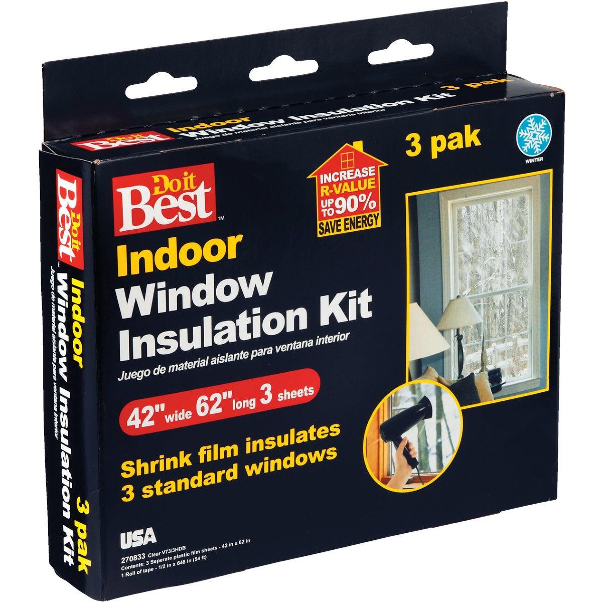 Do it Best 42 In. x 62 In. Indoor Shrink Film Window Kit, (3-Pack)