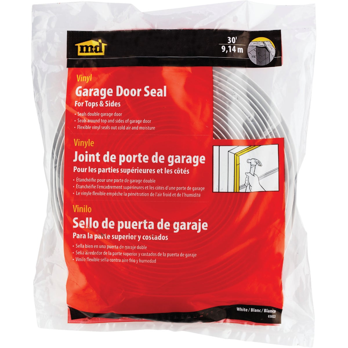 30' Wht Garage Door Seal