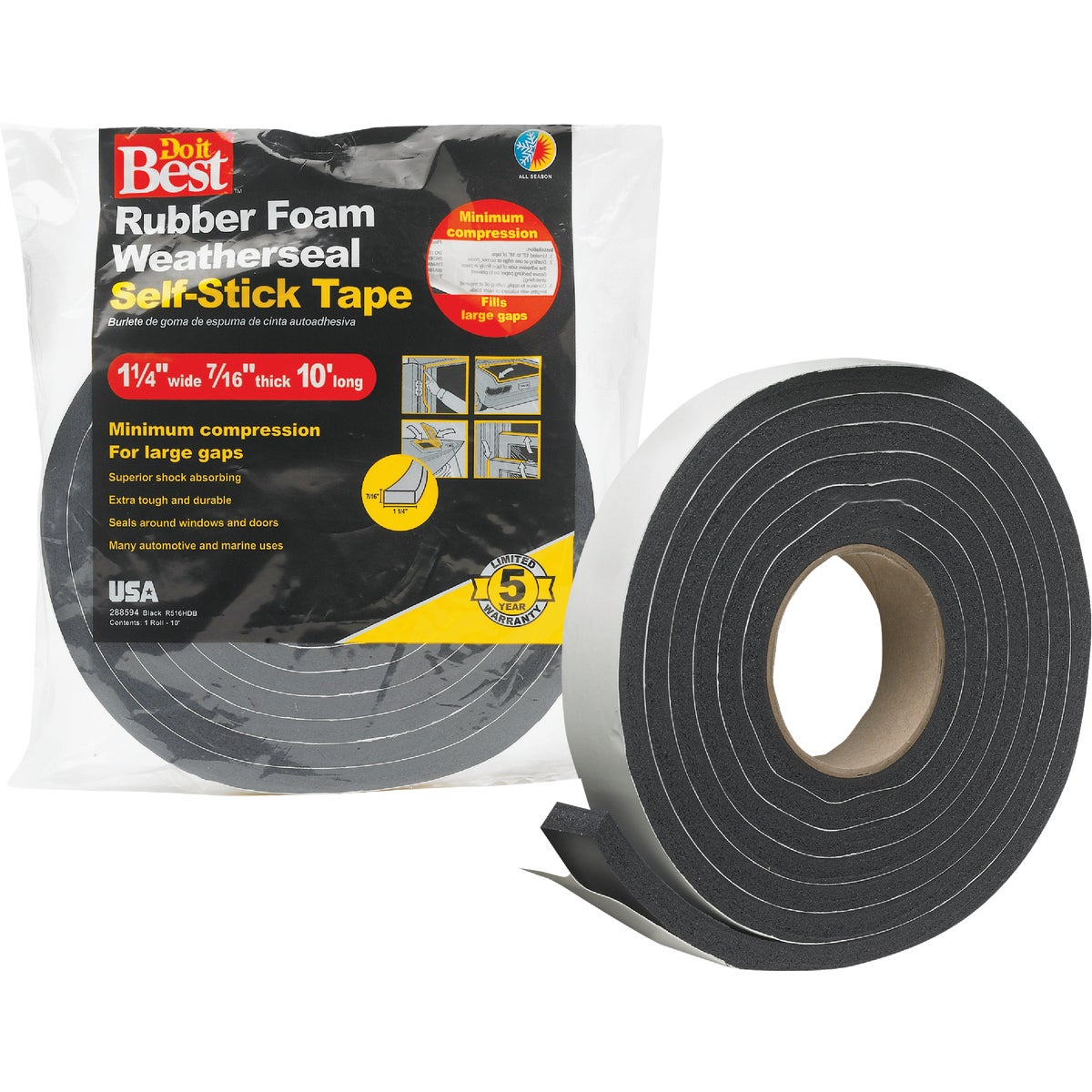 "1-1/4X7/16""X10' BLK TAPE - R516HDB by Thermwell Prods Co"