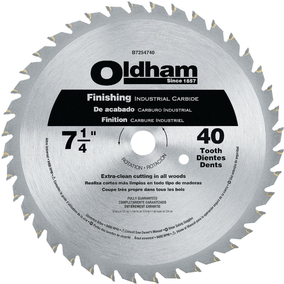"7-1/4"" 40T SAW BLADE - B7254740-10 by DeWalt"