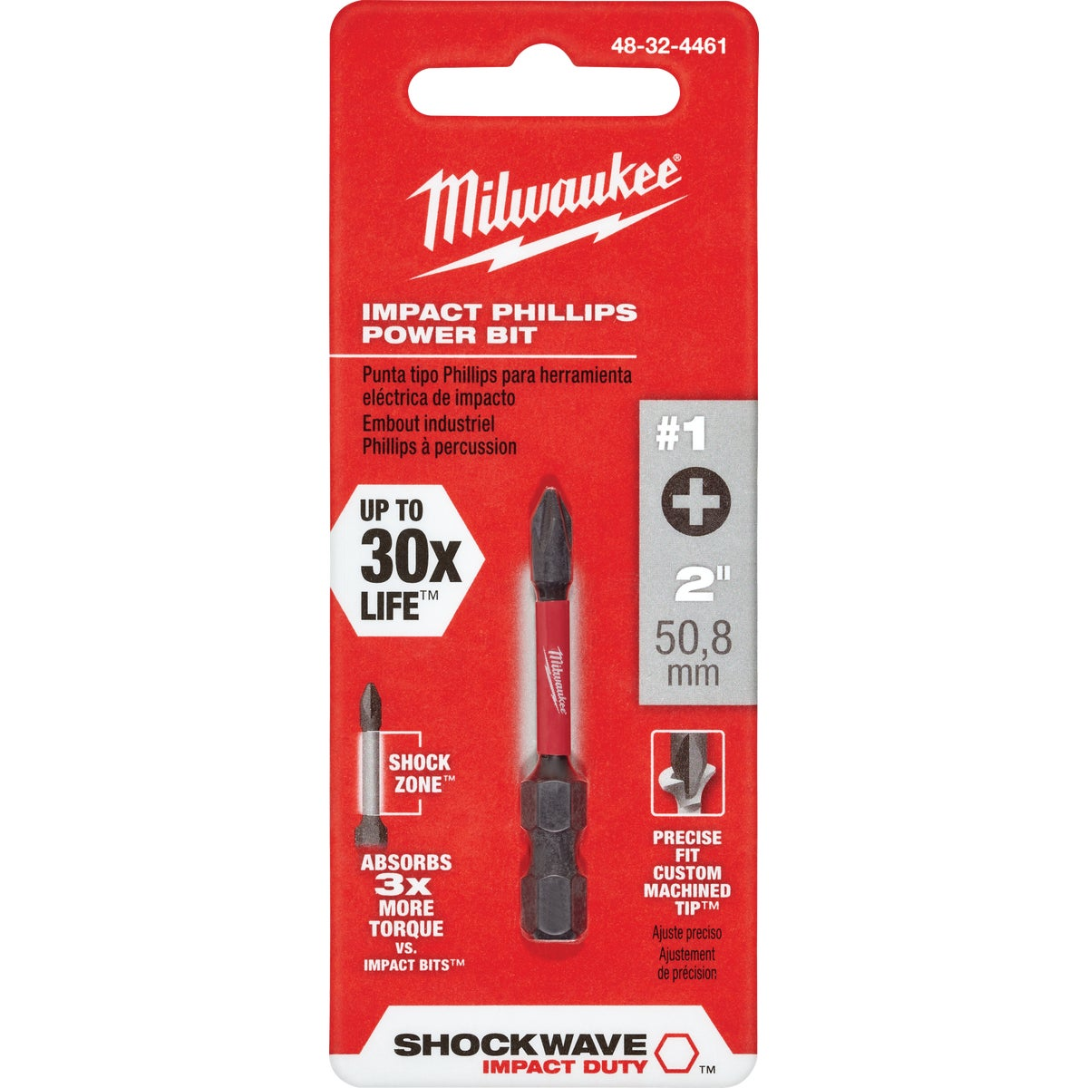 "2"" #1 PHILLIPS POWER BIT - 48-32-4461 by Milwaukee Accessory"