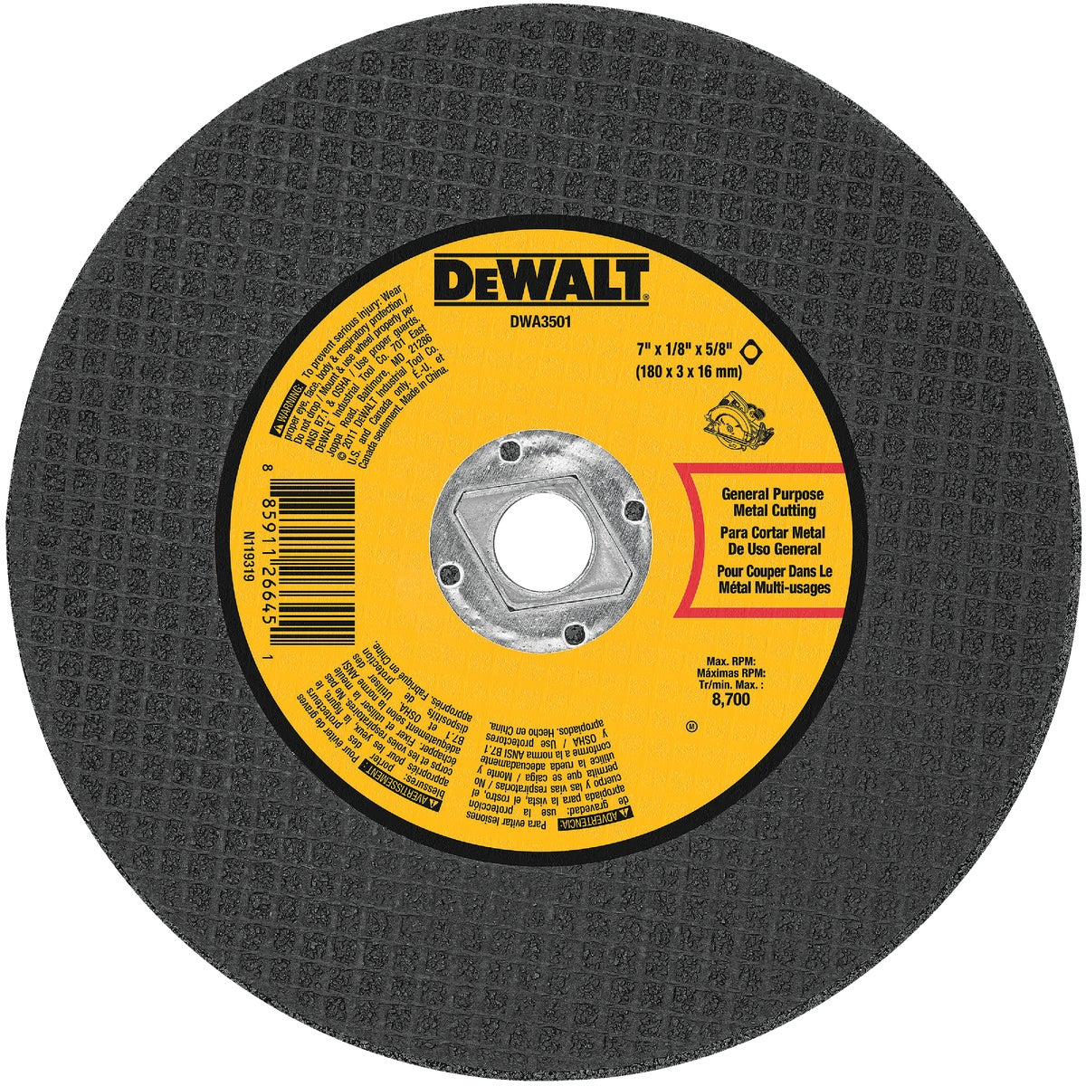 "7"" METAL ABRASIVE WHEEL - DWA3501 by DeWalt"