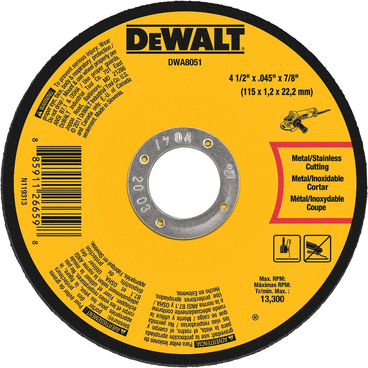 "4-1/2"" METAL CUTOFF - DWA8051 by DeWalt"