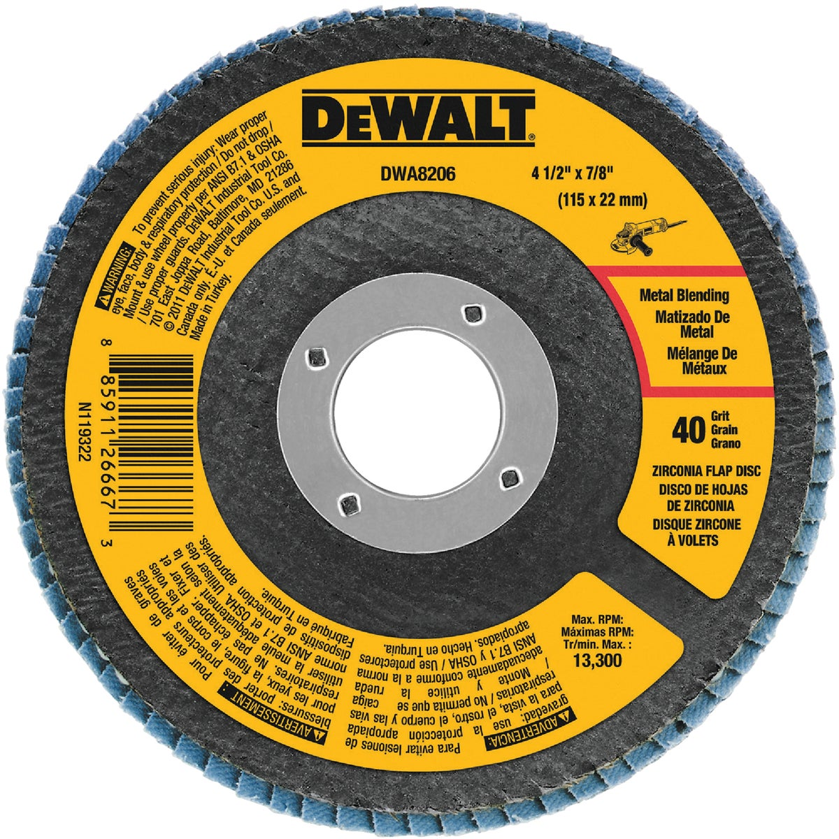 "4-1/2"" 40 GRIT FLAP DISC - DWA8206 by DeWalt"