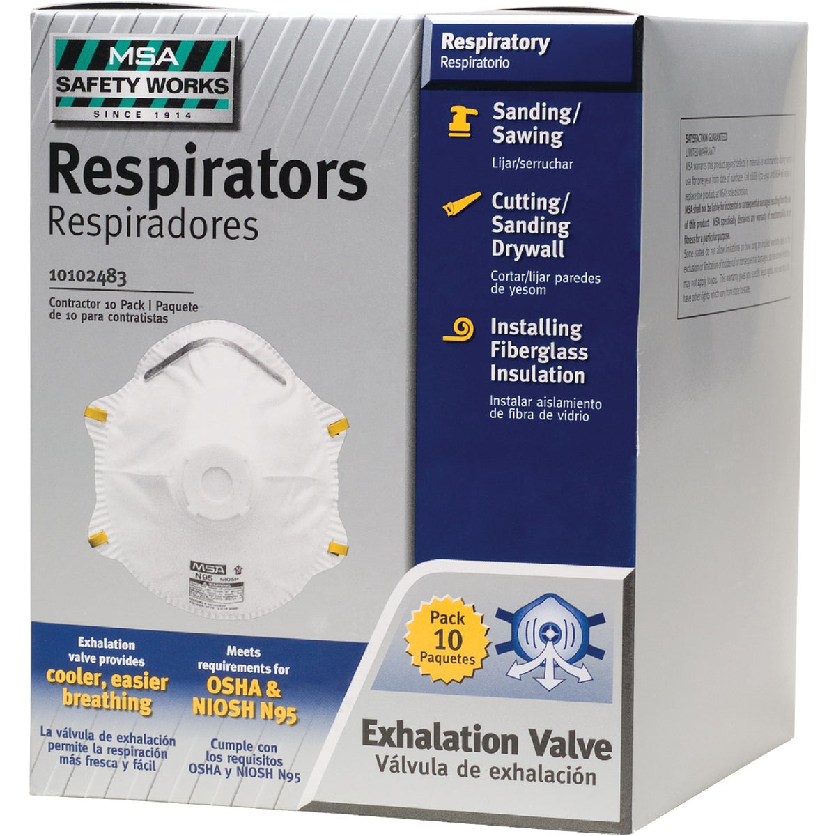 10PK N95 VLV RESPIRATOR - 10102483 by Msa Safety