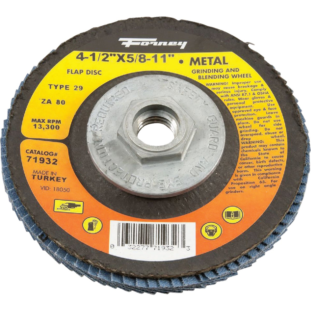 80GR BLUE ZIR FLAP DISC - 71932 by Forney Industries