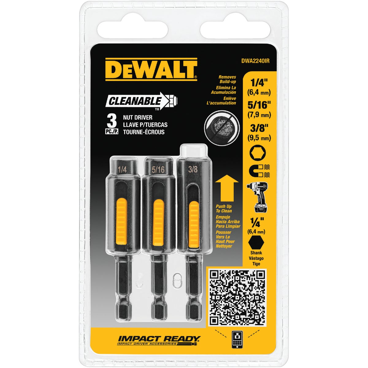 Black & Decker DeWalt Impact Ready 3-Piece Cleanable Magnetic Nutdriver Bit Set