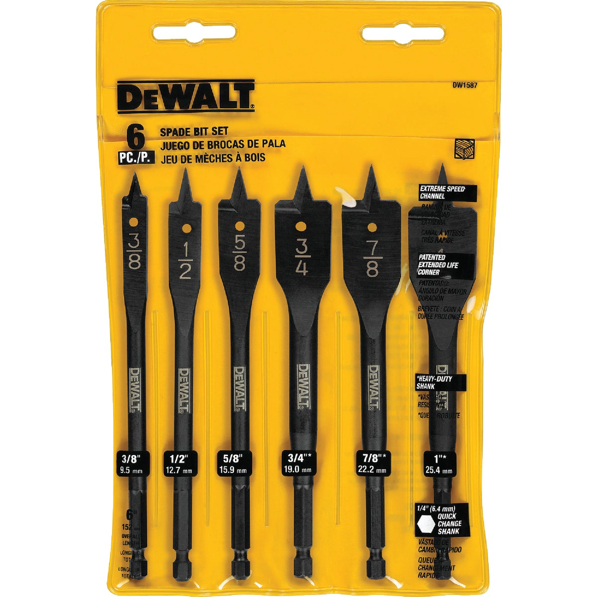 Black & Decker/DWLT 6PC SPADE BIT SET DW1587