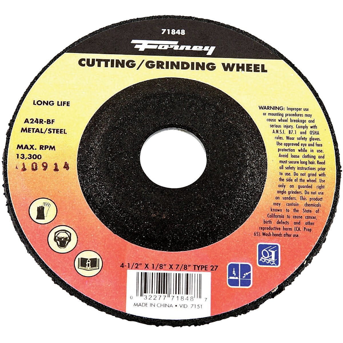 "4-1/2"" GRINDING WHEEL - 71848 by Forney Industries"
