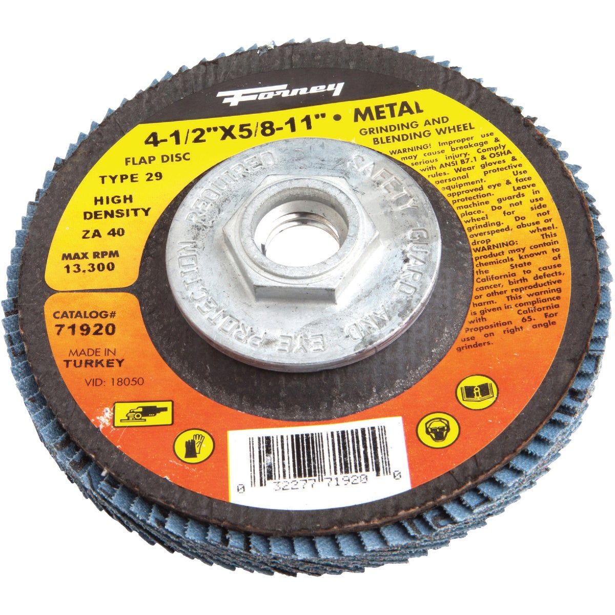 40G BLUE ZIR FLAP DISC - 71920 by Forney Industries