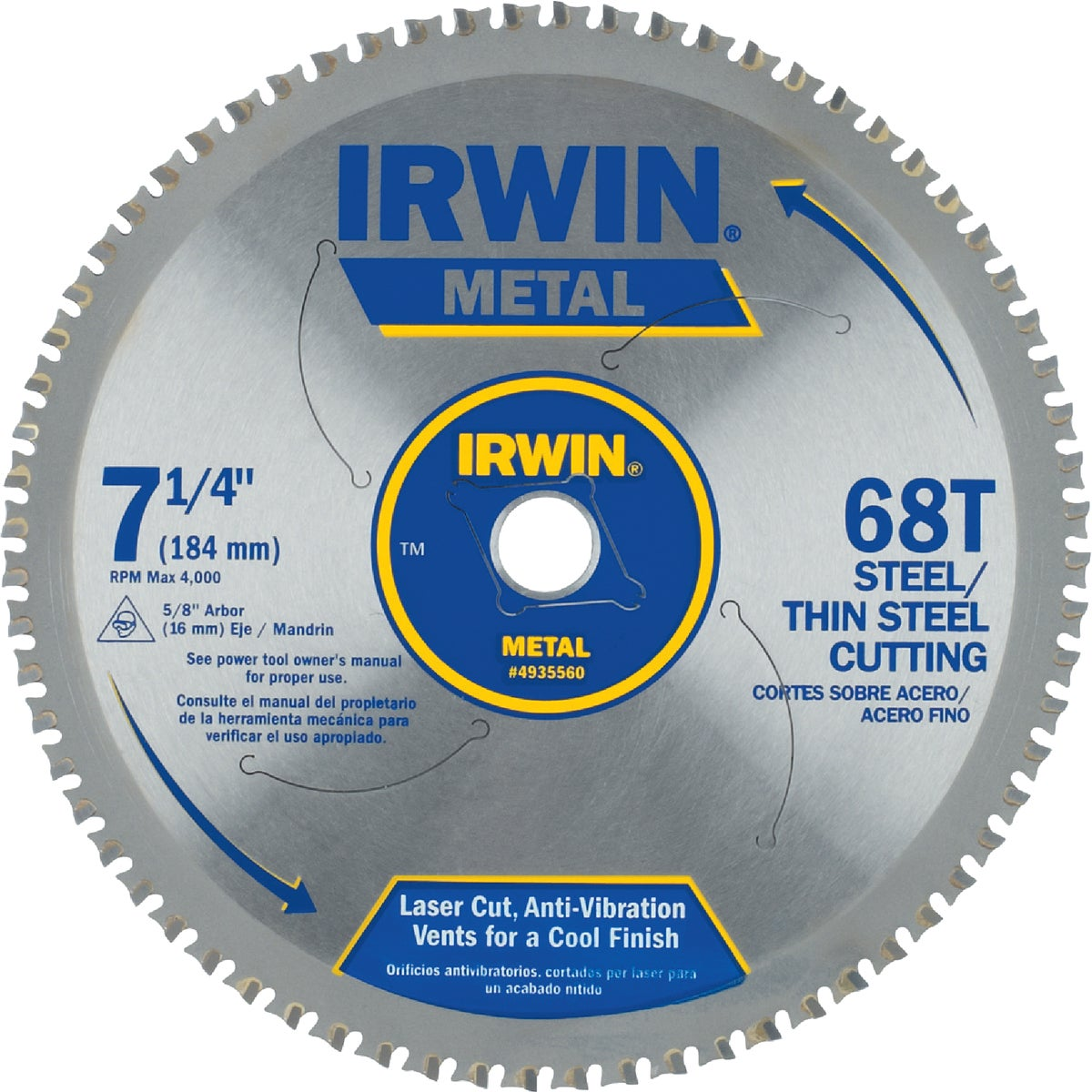 "7-1/4"" 68T METAL BLADE - 4935560 by Irwin Industr Tool"